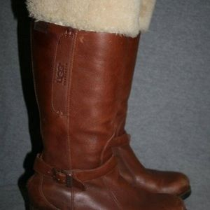 UGG Brown Leather & Wool Tall Boots